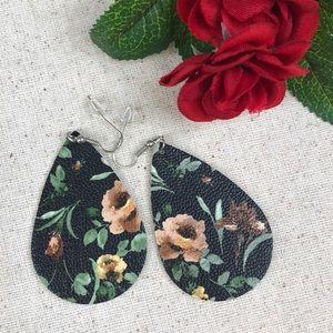 Jewelry - Black Floral Teardrop Faux Leather Earrings